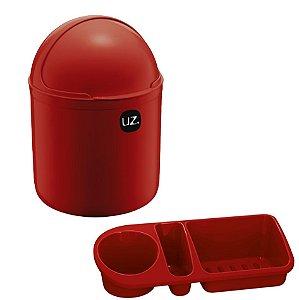 Kit Cozinha Lixeira 4L Tampa Capacete + Organizador Pia Porta Detergente - Uz - Vermelho