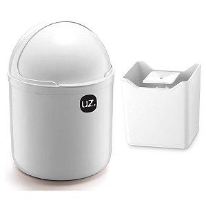 Kit Cozinha Lixeira 4L Tampa Capacete + Dispenser Pia Porta Detergente Premium - Uz - Branco