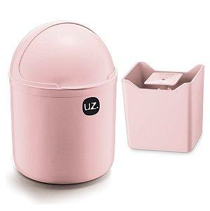 Kit Cozinha Lixeira 4L Tampa Capacete + Dispenser Pia Porta Detergente Premium - Uz - Rosa