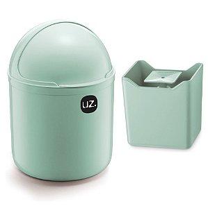 Kit Cozinha Lixeira 4L Tampa Capacete + Dispenser Pia Porta Detergente Premium - Uz - Verde Menta