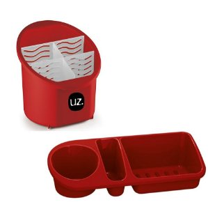 Kit Escorredor Porta Talheres + Organizador Pia Porta Detergente Cozinha - Uz - Vermelho