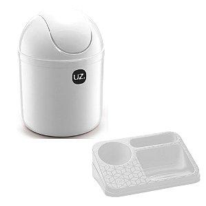 Kit Cozinha Lixeira 4L  Basculante + Organizador Pia Porta Detergente Líquido - Uz - Branco