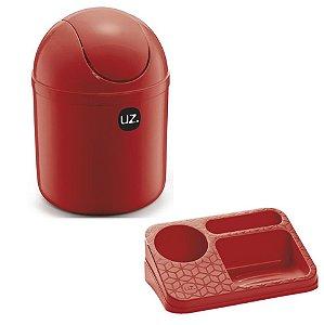 Kit Cozinha Lixeira 4L  Basculante + Organizador Pia Porta Detergente Líquido - Uz - Vermelho