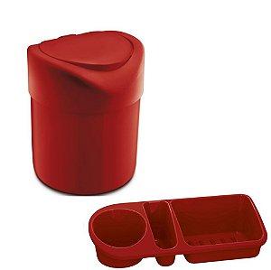 Kit Cozinha Lixeira 4L Tampa Manual + Organizador Pia Porta Detergente - Uz - Vermelho