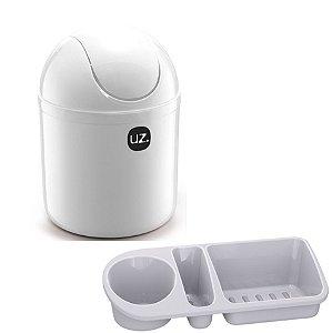 Kit Cozinha Lixeira 4L Tampa Basculante + Organizador Pia Porta Detergente - Uz - Branco