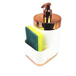 Dispensador Porta Detergente Liquido 500ml Esponja Para Pia Cozinha Branco Rose - 1254BCR Future