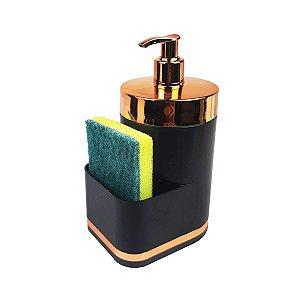 Dispensador Porta Detergente Liquido 500ml Esponja Para Pia Cozinha Preto Rose - 1254PTR Future