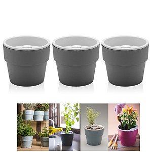 Kit Plantar 3 Vaso Autoirrigável Plantas Flor Tempero Jardim - KTE 021 Ou - Chumbo