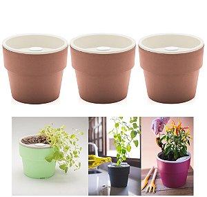Kit Plantar 3 Vaso Autoirrigável Plantas Flor Tempero Jardim - KTE 021 Ou - Terracota