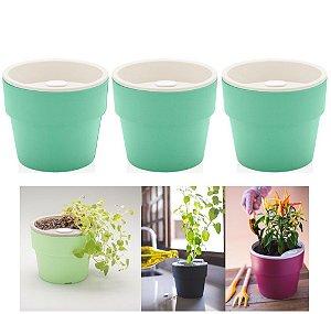 Kit Plantar 3 Vaso Autoirrigável Plantas Flor Tempero Jardim - KTE 021 Ou - Verde Menta