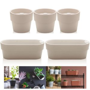 Kit Plantar 5 Vaso Autoirrigável Plantas Flor Tempero Jardim - Ou - Bege