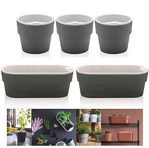 Kit Plantar 5 Vaso Autoirrigável Plantas Flor Tempero Jardim - Ou - Chumbo