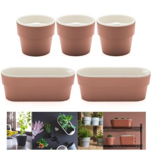Kit Plantar 5 Vaso Autoirrigável Plantas Flor Tempero Jardim - Ou - Terracota