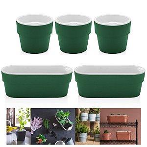 Kit Plantar 5 Vaso Autoirrigável Plantas Flor Tempero Jardim - Ou - Verde Botânico