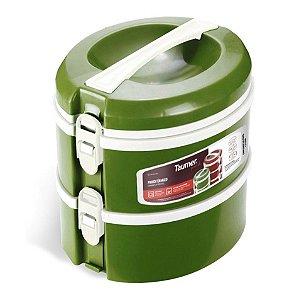 Conjunto 2 Prato Térmico Marmita Refeição Almoço Marmitex Comida - Taumer - Verde