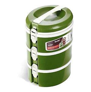 Conjunto 3 Prato Térmico Marmita Refeição Almoço Marmitex Comida - Taumer - Verde