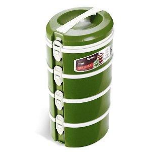 Conjunto 4 Prato Térmico Marmita Refeição Almoço Marmitex Comida - Taumer - Verde