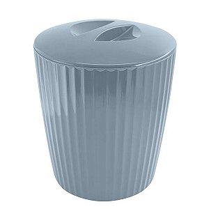 Lixeira 5 Litros Cesto De Lixo Groove Cozinha Banheiro - LX 715 Ou - Azul Glacial
