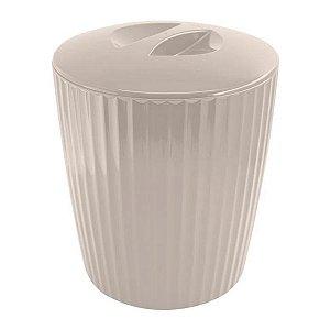 Lixeira 5 Litros Cesto De Lixo Groove Cozinha Banheiro - LX 715 Ou - Bege