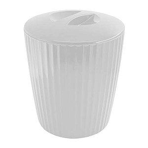 Lixeira 5 Litros Cesto De Lixo Groove Cozinha Banheiro - LX 715 Ou - Branco