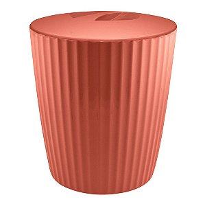Lixeira 5 Litros Cesto De Lixo Groove Cozinha Banheiro - LX 715 Ou - Terracota