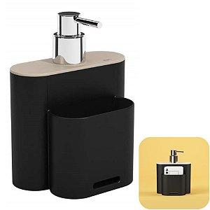 Dispenser Porta Detergente Líquido Esponja Organizador Cozinha Flat - 17002 Coza - Preto
