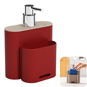 Dispenser Porta Detergente Líquido Esponja Organizador Cozinha Flat - 17002 Coza - Vermelho