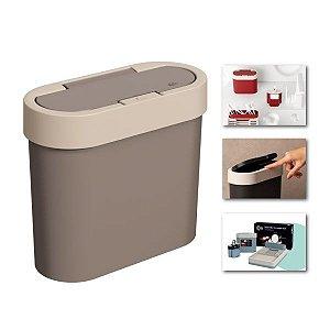 Lixeira 2,8 Litros Automática Cesto De Lixo Cozinha Pia Bancada de Click Bicolor Flat - 17003 Coza - Cinza