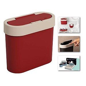 Lixeira 2,8 Litros Automática Cesto De Lixo Cozinha Pia Bancada de Click Bicolor Flat - 17003 Coza - Vermelho