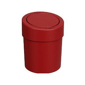 Lixeira Click 5 Litros Plástica Cesto De Lixo Automático Pia Cozinha Press - 10908 Coza - Vermelho