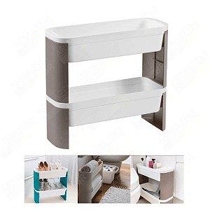 Organizador De Cozinha Banheiro Lavanderia Jardim 2 Andares Loft Slim - 10743 Coza - cinza