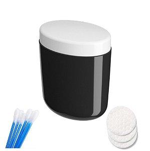 Porta Algodão Cotonete Organizador Acessório Banheiro - 10449 Coza - Preto