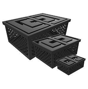 Kit 3 Cesto Organizador Caixa Para Closet Lavanderia - Crippa - Preto