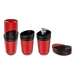 Kit 4 Pçs Banheiro Dispenser Porta Sabonete Escova Algodão Smart S - Crippa - Vermelho