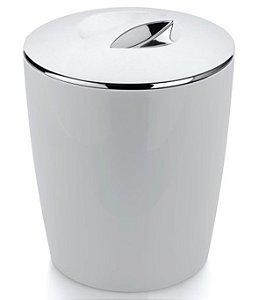 Lixeira 5 Litros Cromo Vitra Cesto De Lixo Banheiro Cozinha Lavabo - LX 550 Ou - Branco