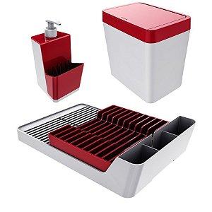 Kit Escorredor De Louças + Porta Detergente + Lixeira - Branco Crippa - Branco/Vermelho