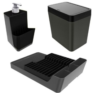 Kit Escorredor De Louças + Porta Detergente + Lixeira - Chumbo Crippa - Chumbo/Preto