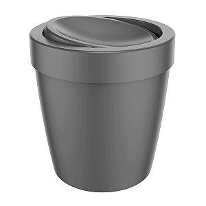 Lixeira 5 Litros Tampa Basculante Cesto De Lixo Banheiro Vitra - LX 655 Ou - Chumbo