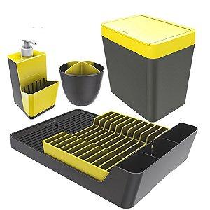 Kit Escorredor De Louças / Talheres + Dispenser Detergente + Lixeira - Chumbo Crippa - Chumbo/Amarelo