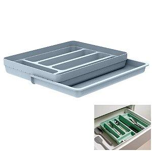 Organizador De Gaveta Divisor Porta Talheres Extensível Cozinha Logic - OL 650 Ou - Azul Glacial
