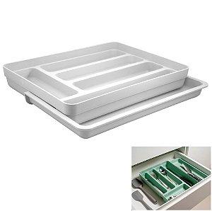 Organizador De Gaveta Divisor Porta Talheres Extensível Cozinha Logic - OL 650 Ou - Branco