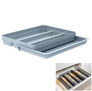 Organizador De Gaveta Extensível Porta Talheres Utensílios Cozinha Logic - OL 750 Ou - Azul Glacial