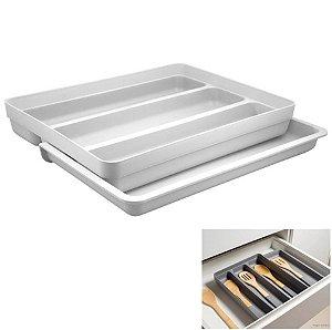 Organizador De Gaveta Extensível Porta Talheres Utensílios Cozinha Logic - OL 750 Ou - Branco