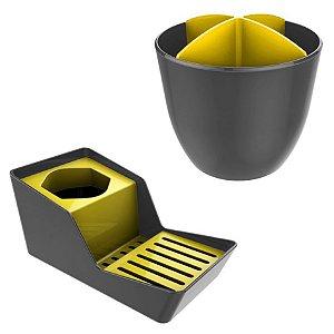 Kit Organizador De Pia Detergente + Escorredor Talheres - Chumbo Crippa - Amarelo