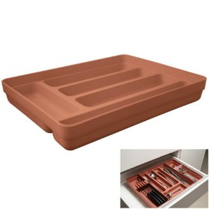 Organizador De Gavetas Divisor Porta Talheres Multiuso Cozinha Logic - OL 600 Ou - Terracota
