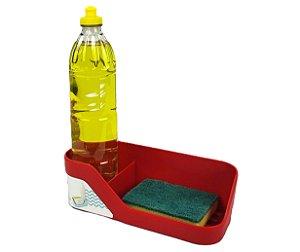 Organizador De Pia Porta Detergente Esponja Cozinha Trium - OP 500 Ou - Vermelho