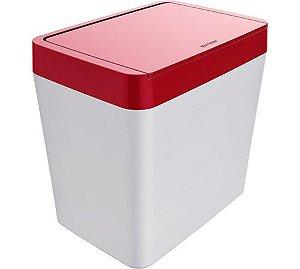 Lixeira 5 Litros De Bancada Cozinha Escritório Branca - Crippa - Vermelho