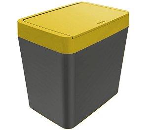 Lixeira 5 litros de bancada cozinha escritório Chumbo - Crippa - Amarelo