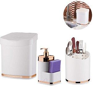 Kit Lixeira 2,5 Litros Escorredor Talheres Dispenser Porta Detergente Cozinha Branco Rose - Future