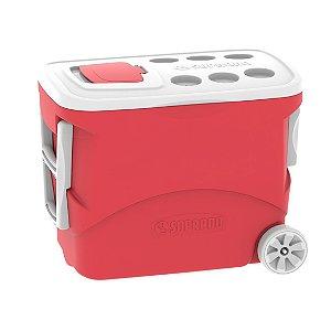 Caixa Térmica Cooler Tropical 50 Litros com Rodas Bebidas e Alimentos - Soprano - Vermelha